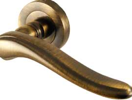 Antique Coated Brass Lever on Rose Handles