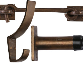 Rustic Bronze Door Stops and Hooks