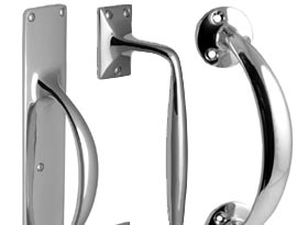 Polished Chrome Pull Handles and Flush Pulls
