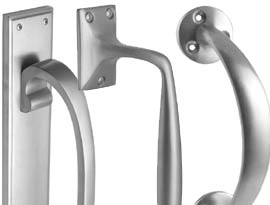 Satin Chrome Pull Handles and Flush Pulls