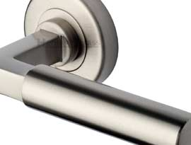 Satin Nickel Finish Lever on Rose Handles