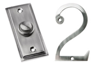 Pewter Finish Bell Pushes and Numerals