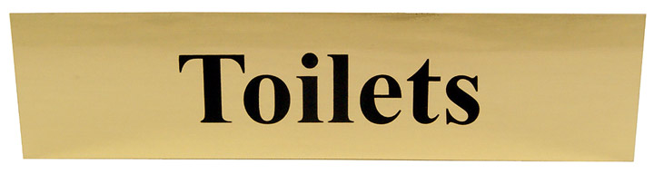 Polished Gold Style Toilets Sign