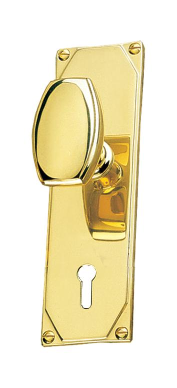 Art Deco Design Door Knob On Keyhole Plate Handle Set