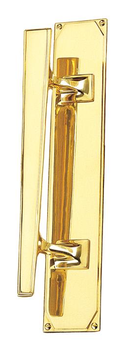 Art Deco Design Door Pull Handle On Plate Left Handed 356x63mm