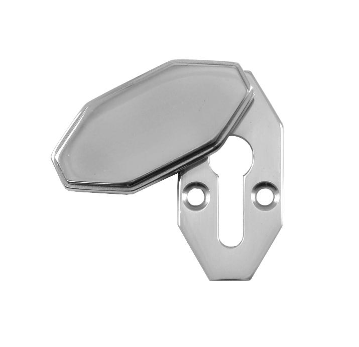 Art Deco Design Polished Chrome Covered Escutcheon 40x20mm