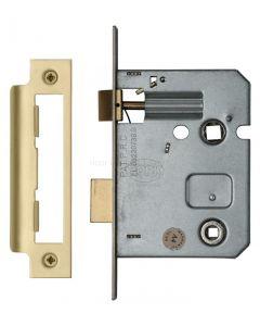 "STRONG ERA 2.5/"" DEADBOLT 5 Lever External Mortice Wooden Door Lock Satin Silver"