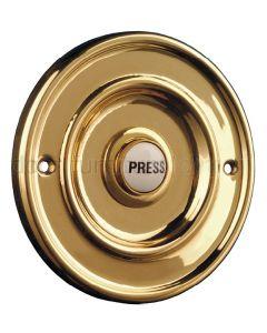 Round Brass Bell Push 63mm