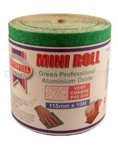 Green Aluminium Oxide Sanding Roll P40 Very Coarse 115mmx10M