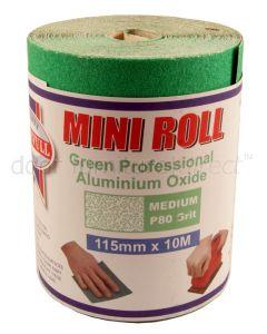 Green Aluminium Oxide Sanding Roll P80 Medium 115mmx10M