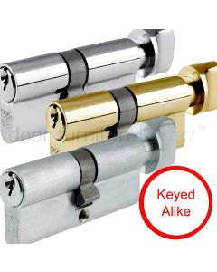 Key And Turn Euro Profile Cylinder 5 Pin Keyed Alike