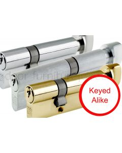 Key and Turn Offset Euro Profile Cylinder 5 Pin Keyed Alike