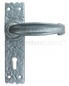 Pewter Finish Lever Lock Door Handles 152 x 38mm P2439-WK