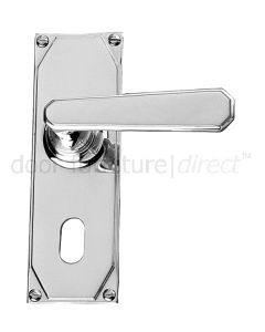 Art Deco Chrome Lever On Oval Plate Door Handles