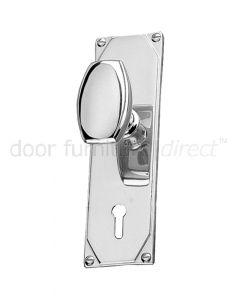 Art Deco Chrome Door Knob On Short Lock Plate Door Handles
