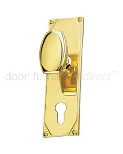 Art Deco Door Knob On Short EURO Plate Door Handles