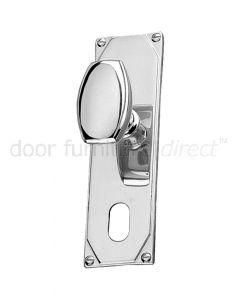 Art Deco Chrome Door Knob On Oval Plate Door Handles