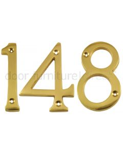 Polished Brass Screw Fixed Front Door Numbers 0-9 3in (76mm)