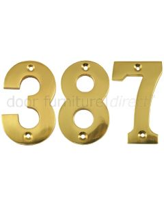 Polished Brass Face Fixed Front Door Numbers 0-9 3in (76mm)