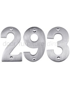Satin Chrome Surface Fixed Front Door Numbers 0-9 3in (76mm)