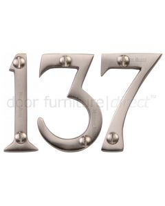 Satin Nickel Screw Fixed Front Door Numbers 0-9 2in (51mm)