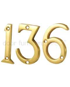 Polished Brass Screw Fixed Door Numerals 0-9 2in (51mm)