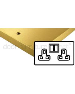 Heritage Contractor Range SAB950W Satin Brass Double 13A Socket