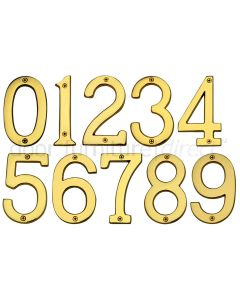 PVD None Tarnish Brass Screw Fixed Front Door Numbers 0-9 3in (76mm)