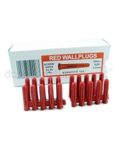 Box of 100 Red Wall Plugs