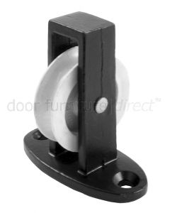1.5in Across Plate Single Upright Pulley Black