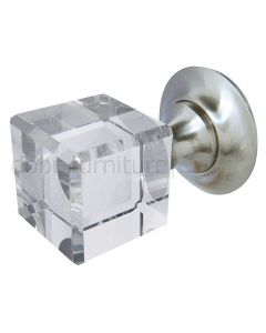 Cube Glass Mortice Door Knobs 45mm