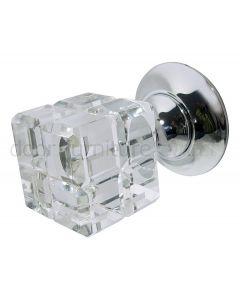 Rubic Glass Mortice Door Knobs 45mm