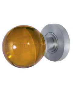Amber Glass Ball Mortice Door Knobs 60mm