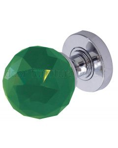 Green Cut Glass Mortice Door Knobs 60mm