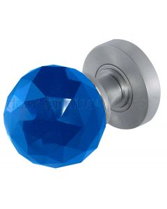 Blue Cut Glass Mortice Door Knobs 60mm