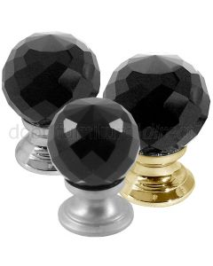 Black Cut Glass Cupboard Knob