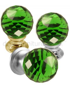 Green Cut Glass Cupboard Knob