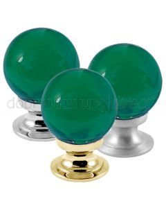 Green Glass Ball Cupboard Knob