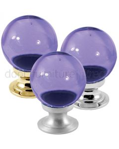 Purple Glass Ball Cupboard Knob