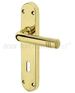 Porto Polished Brass Lock Handles 183x40mm
