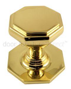 Brass Octagonal Centre Door Knob 67mm