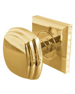 Brass Mortice Door Knobs on Square Rose