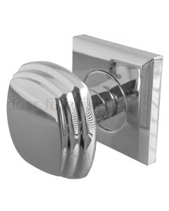 Chrome Mortice Door Knobs on Square Rose
