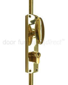 Brass Key Locking Espagnolette Bolt
