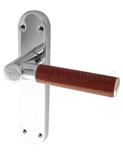 Ascot Brown Leather Chrome Latch Door Handles