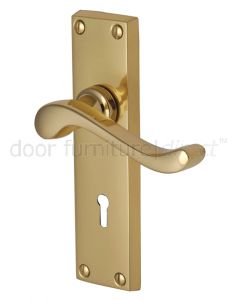 Bedford Scroll Lever Polished Brass Keyhole Door Handles