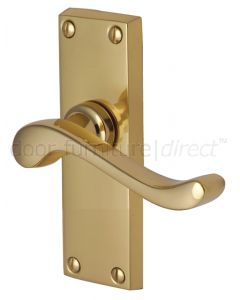 Bedford Scroll Lever Polished Brass Short Plate Latch Door Handles