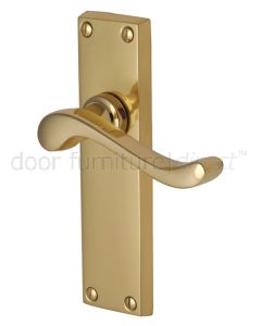 Bedford Scroll Lever Polished Brass Long Plate Latch Door Handles