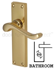 Bedford Scroll Lever Polished Brass Bathroom Lock Door Handles