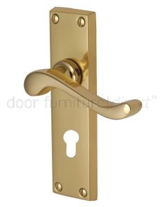 Bedford Scroll Lever Polished Brass 48mm Euro Cylinder Door Handles